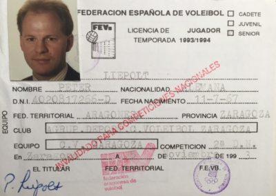 Spielerpass von Peter Liepolt als ungültig (invalido) für nationale Wettbewerbe abgestempelt